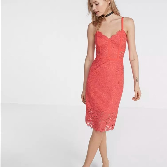 92a85ebb5fe New express coral piped lace sheath dress 0 nwt